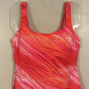 ST.JOHN'S BAY Padded Orange Pink Tankini Top